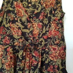 True Vintage Roses Floral Romper Tie Black Size 8